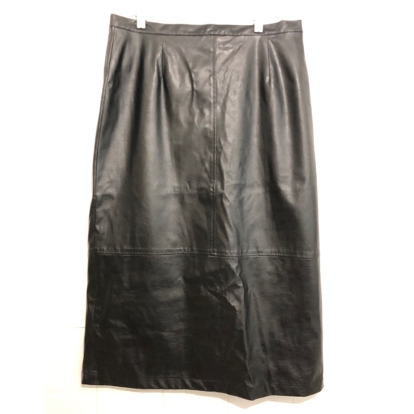 Vintage Dresses & Skirts - Vtg Vegan Leather Midi Pencil Skirt Black Sz 14